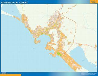 Mapa Acapulco De Juarez en Mexico enmarcado plastificado