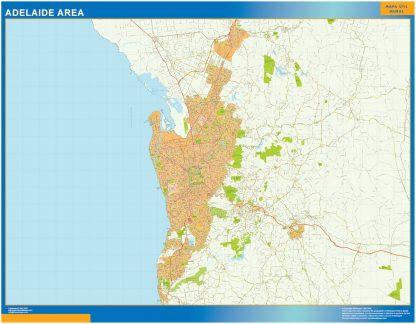 Mapa Adelaide Area Australia enmarcado plastificado