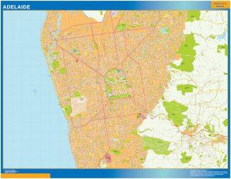 Mapa Adelaide Australia enmarcado plastificado