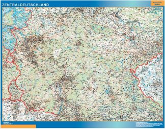 Mapa Alemania central carreteras enmarcado plastificado