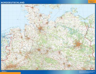 Mapa Alemania norte carreteras enmarcado plastificado