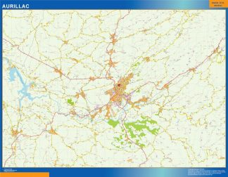 Mapa Aurillac en Francia enmarcado plastificado