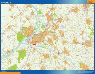 Mapa Avignon en Francia enmarcado plastificado