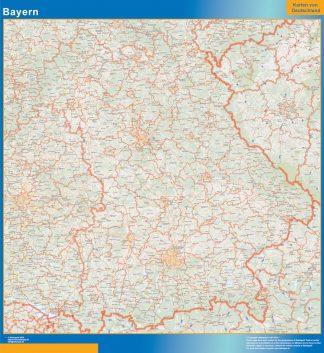Mapa Baviera enmarcado plastificado