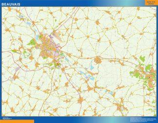 Mapa Beauvais en Francia enmarcado plastificado