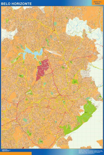 Mapa Belo Horizonte Brasil enmarcado plastificado