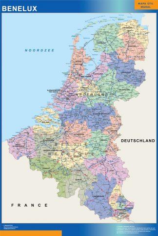 Mapa Benelux enmarcado plastificado