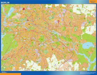 Mapa Berlin en Alemania enmarcado plastificado