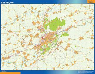 Mapa Besancon en Francia enmarcado plastificado