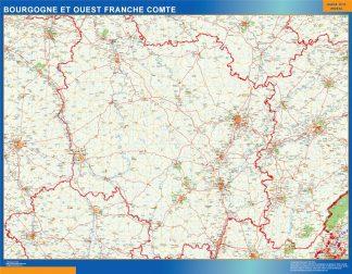 Mapa Bourgogne Franche Comte en Francia enmarcado plastificado