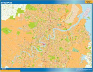 Mapa Brisbane Australia enmarcado plastificado