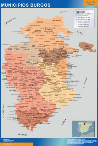 Mapa Burgos por municipios enmarcado plastificado