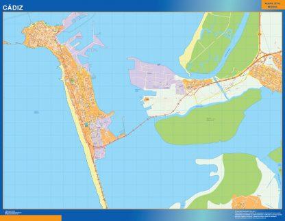 Mapa Cadiz callejero enmarcado plastificado