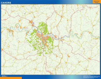 Mapa Cahors en Francia enmarcado plastificado