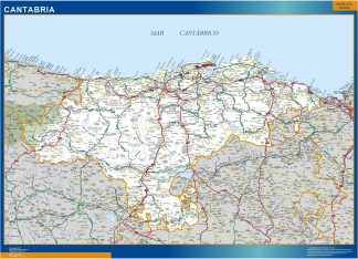 Mapa Cantabria carreteras enmarcado plastificado