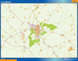 Mapa Chaumont en Francia enmarcado plastificado