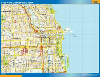 Mapa Chicago downtown enmarcado plastificado