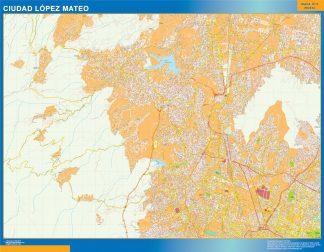 Mapa Ciudad Lopez Mateo en Mexico enmarcado plastificado
