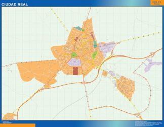 Mapa Ciudad Real callejero enmarcado plastificado