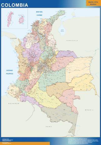 Mapa Colombia enmarcado plastificado