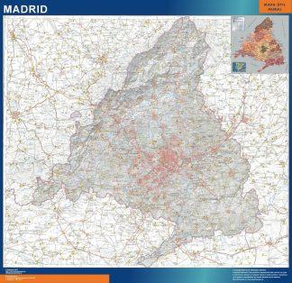 Mapa Comunidad Madrid físico enmarcado plastificado