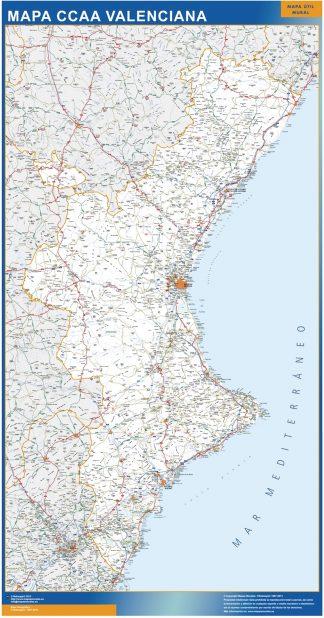 Mapa Comunitat Valenciana carreteras enmarcado plastificado