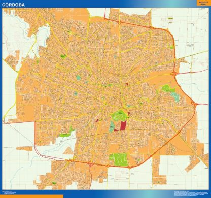 Mapa Cordoba en Argentina enmarcado plastificado