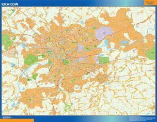 Mapa Cracovia Polonia enmarcado plastificado