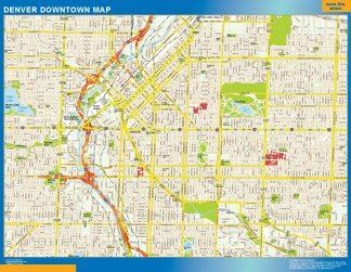 Mapa Denver downtown enmarcado plastificado