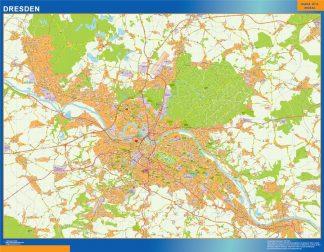Mapa Dresden en Alemania enmarcado plastificado
