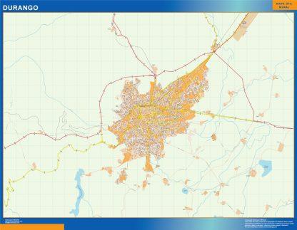 Mapa Durango en Mexico enmarcado plastificado