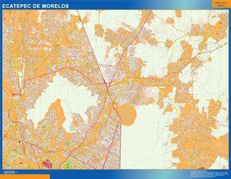 Mapa Ecatepec De Morelos en Mexico enmarcado plastificado