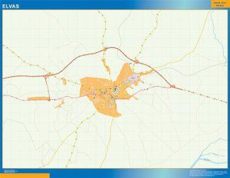 Mapa Elvas en Portugal enmarcado plastificado