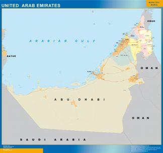 Mapa Emiratos Arabes Unidos enmarcado plastificado