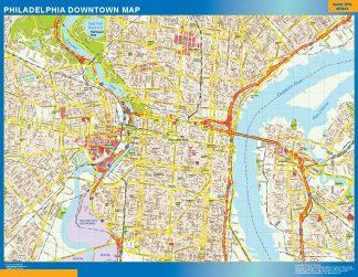 Mapa Filadelfia downtown enmarcado plastificado