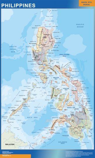 Mapa Filipinas enmarcado plastificado