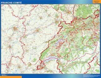Mapa Franche Comte en Francia enmarcado plastificado