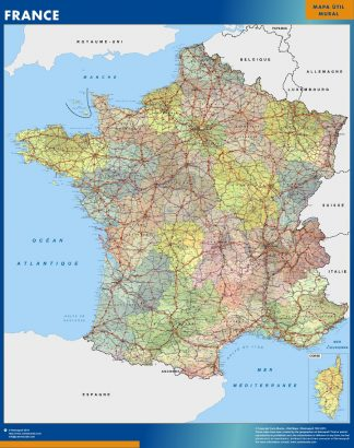 Mapa Francia enmarcado plastificado