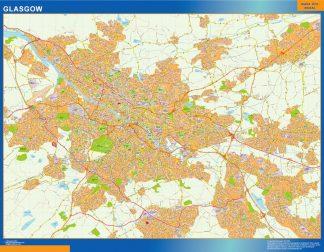 Mapa Glasgow enmarcado plastificado