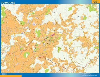 Mapa Guimaraes en Portugal enmarcado plastificado