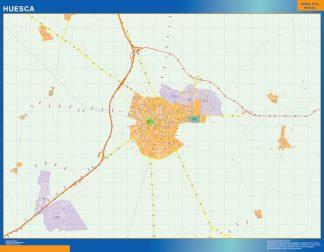 Mapa Huesca callejero enmarcado plastificado