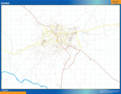 Mapa Kano en Nigeria enmarcado plastificado