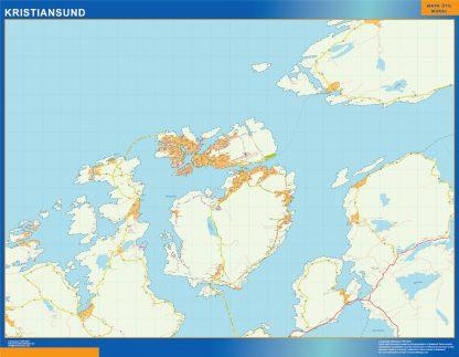 Mapa Kristiansund en Noruega enmarcado plastificado