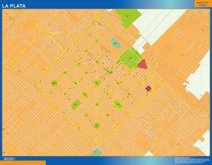 Mapa La Plata en Argentina enmarcado plastificado