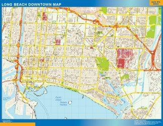 Mapa Long Beach downtown enmarcado plastificado