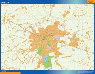 Mapa Lublin Polonia enmarcado plastificado