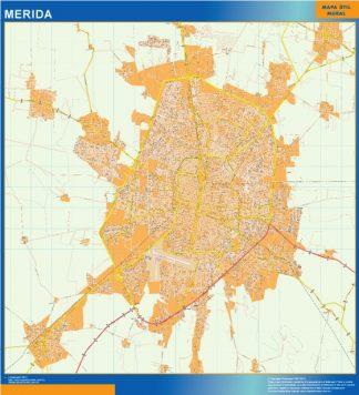Mapa Merida Centro en Mexico enmarcado plastificado