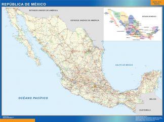 Mapa Mexico enmarcado plastificado