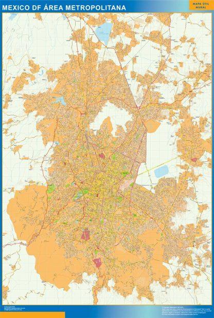 Mapa Mexico Area en Mexico enmarcado plastificado