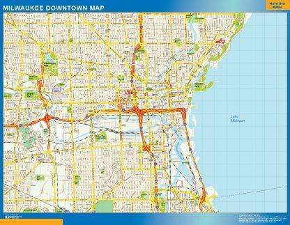 Mapa Milwaukee downtown enmarcado plastificado